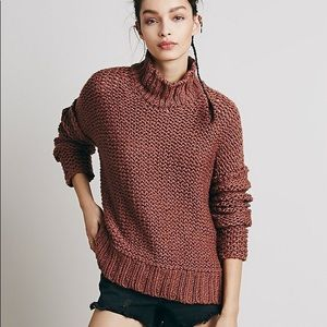 Free people chunky mock neck sweater size small